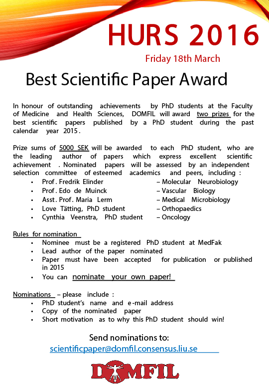 Scientific paper prize - HURS 2016